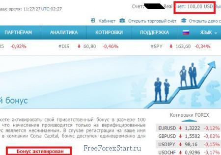 приветственный бонус Corsa capital активирован