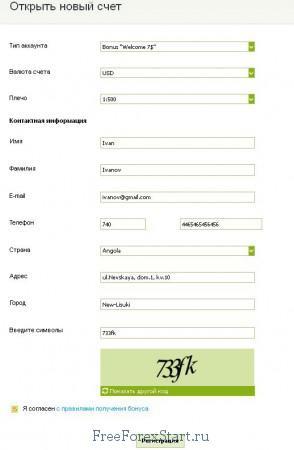 заполнение данных для регистрации счета